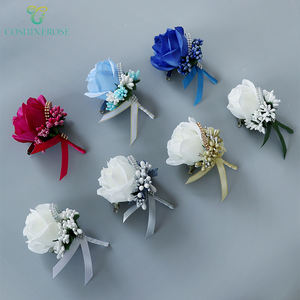 Coshinerose Factory Supply Pink Boutonniere Artificial Corsage Flower Wedding Corsage The Best Men Suit Corsage
