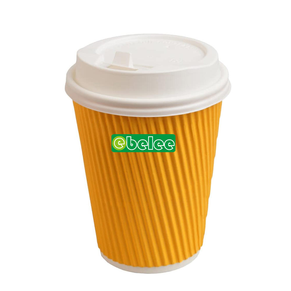 Triple wall disposable paper ripple coffee cups lid cover