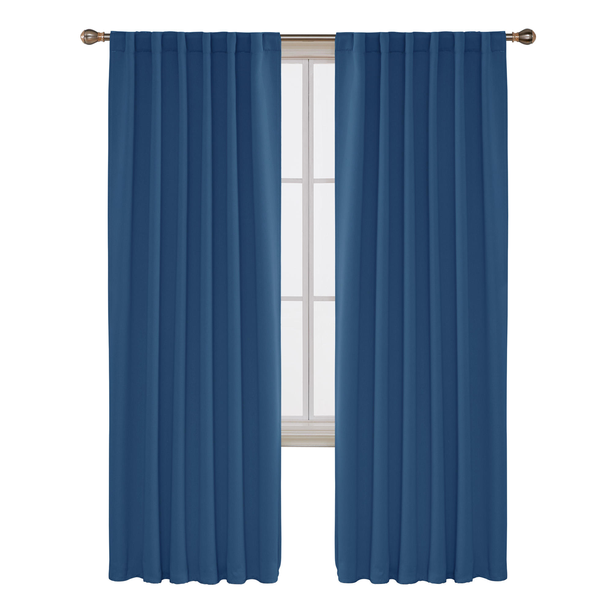 Soft Blue Thermal Insulated Total Blackout Curtains Drapes Fabric with Coated Silver Back for Home Bedroom Living Room Curtains