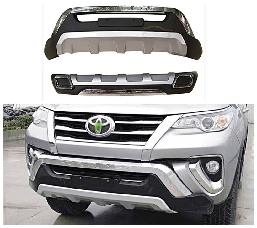 For Toyota Fortuner 2017 2018 Front+Rear Bumper Diffuser Guard skid plate High Quality ABS Car Modification Accessories