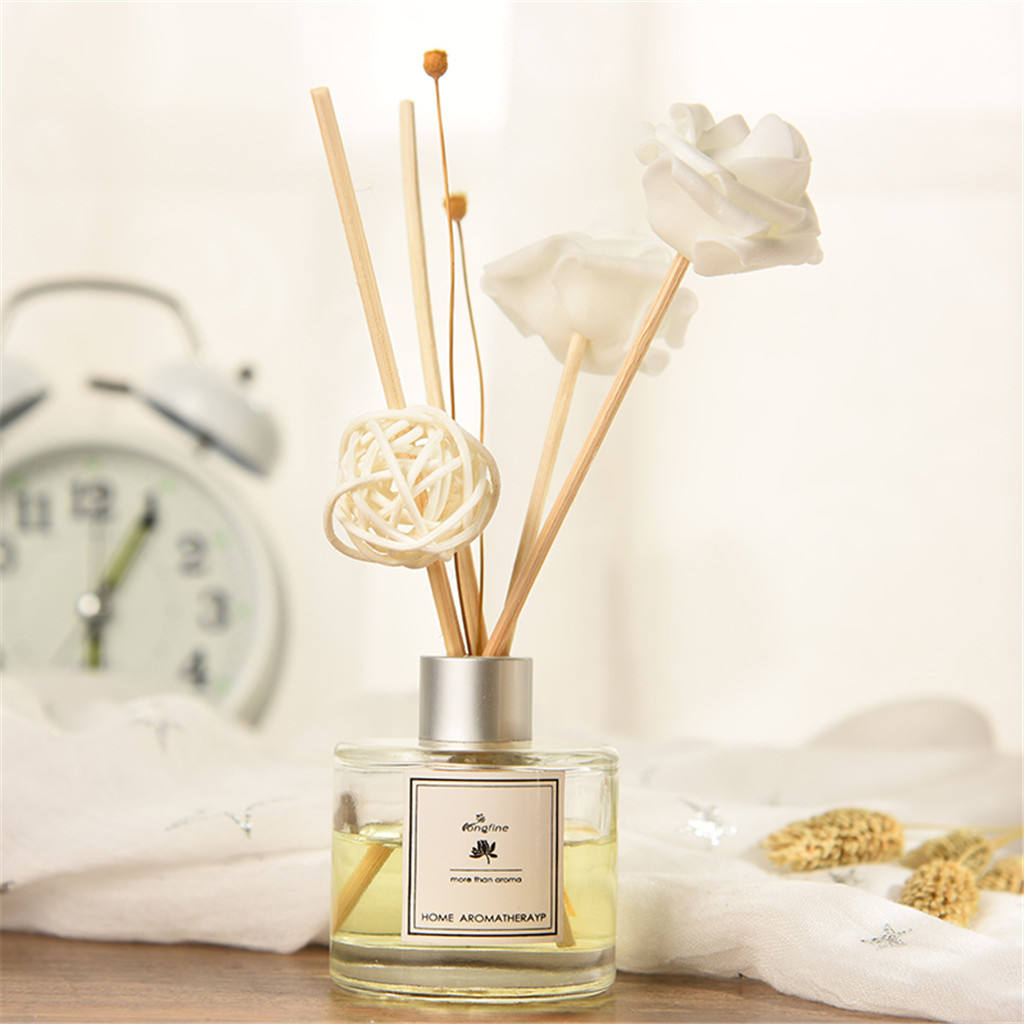 Glass aroma oil bottle with reed diffuser sticks air freshener perfume glass reed diffuser bottle