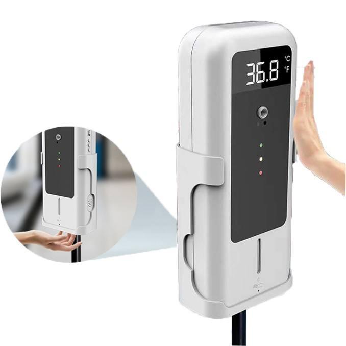 Pantalla LCD digital frente sin contacto infrarrojo termómetro electrónico dispensador de desinfectante de manos para gel con so