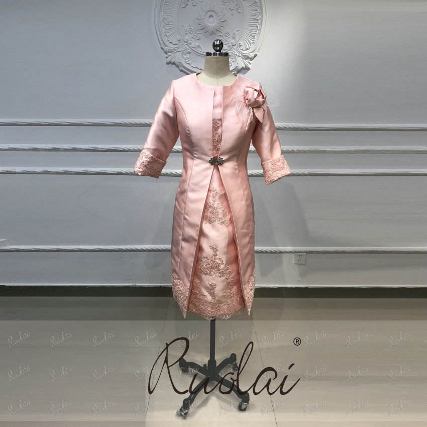 CR08 Pink Appliqued Woman Evening Gowns Knee Length Short Plus Size Mother of the Bride Dresses Suits with Jacket