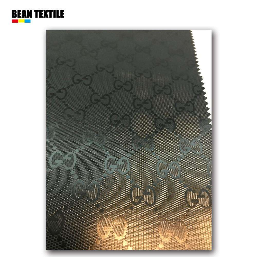 Black GG leather fabric for bag