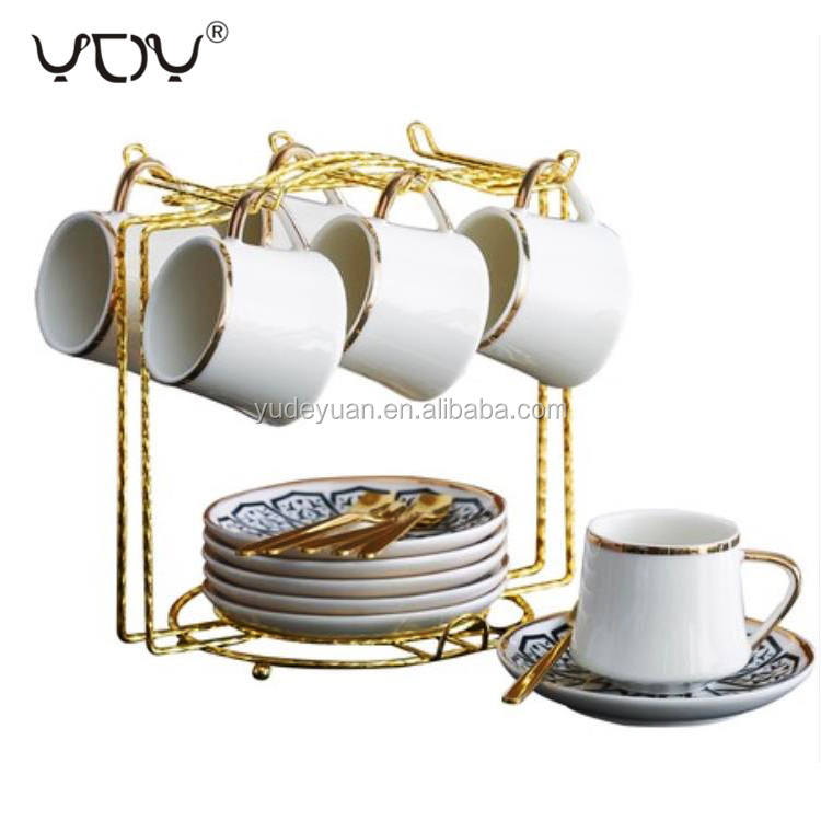 90cc Wholesale Personalized Fine Bone China Gold Rim Ceramic Espresso Custom Turkish Coffee Cup Saucer Set