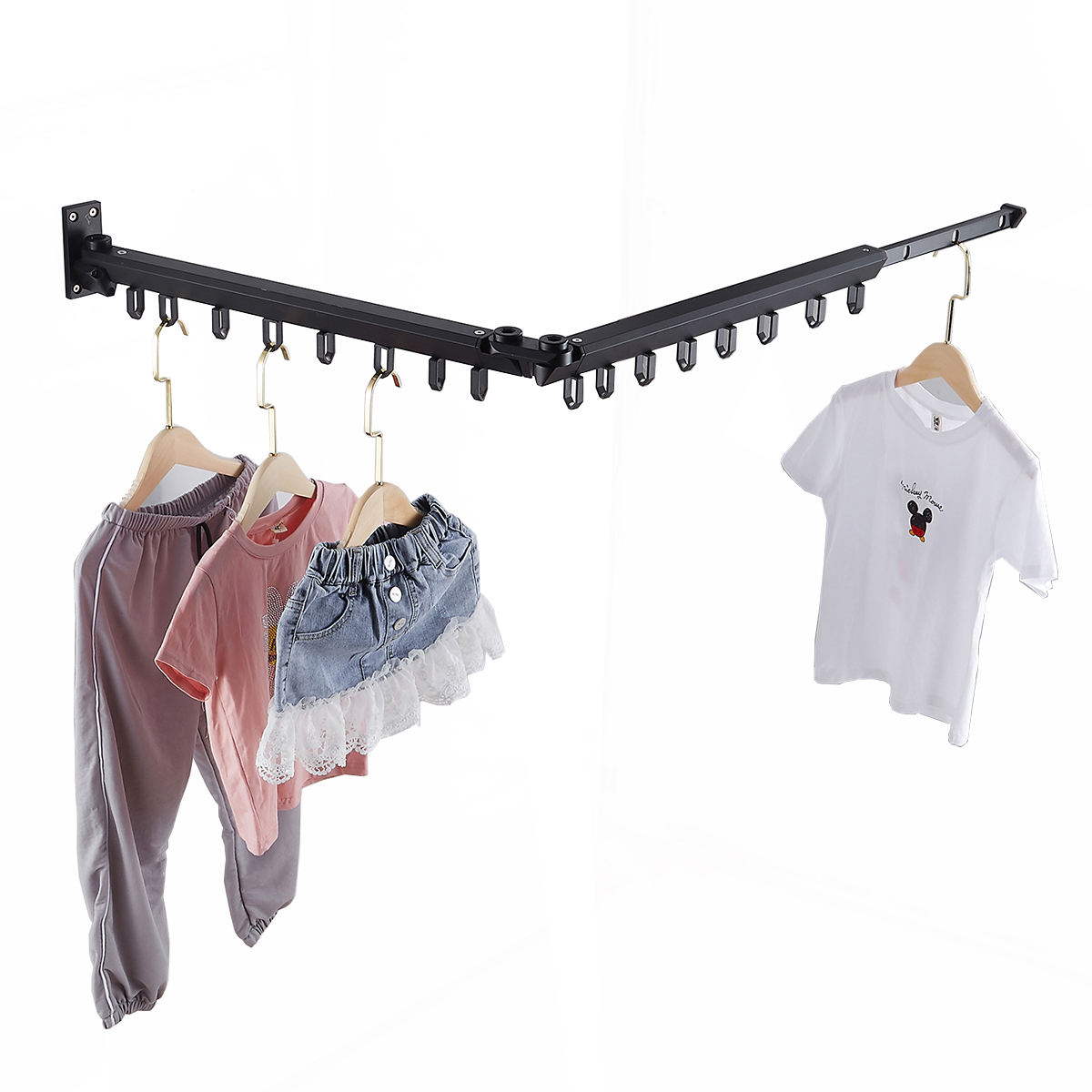 Aluminum Alloy Wall Mount Balcony Folding Telescopic Clothes Drying Rack Retractable Clothes Dryer Rack