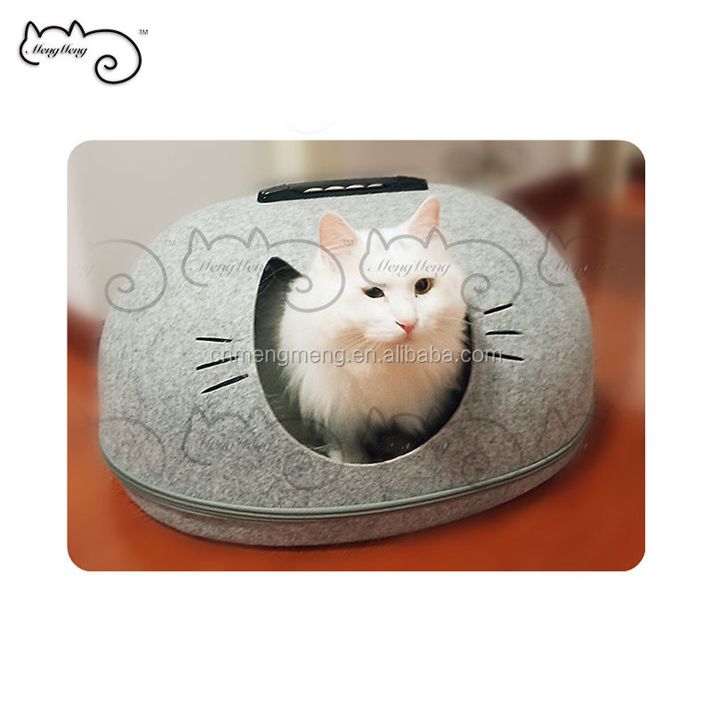 2019 New Portable Crab Shellfish Zipper Round Cat Felt House Warm Winter Cat Bed Sleep Pet House Indoor Felt Cat House Dog Bed