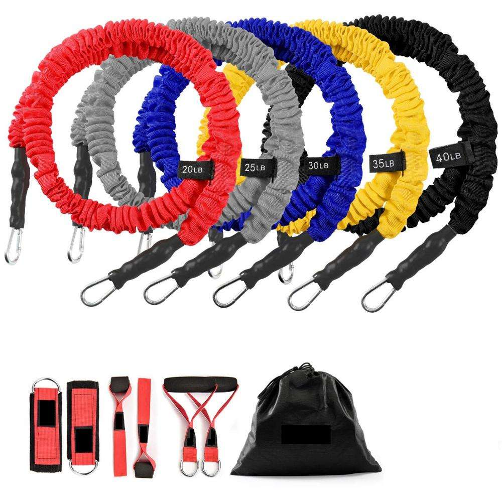 Exercise Elastic Bands Set, Resistance Tubes Heavy Duty Protective Nylon Sleeves Anti-Snap Fitness