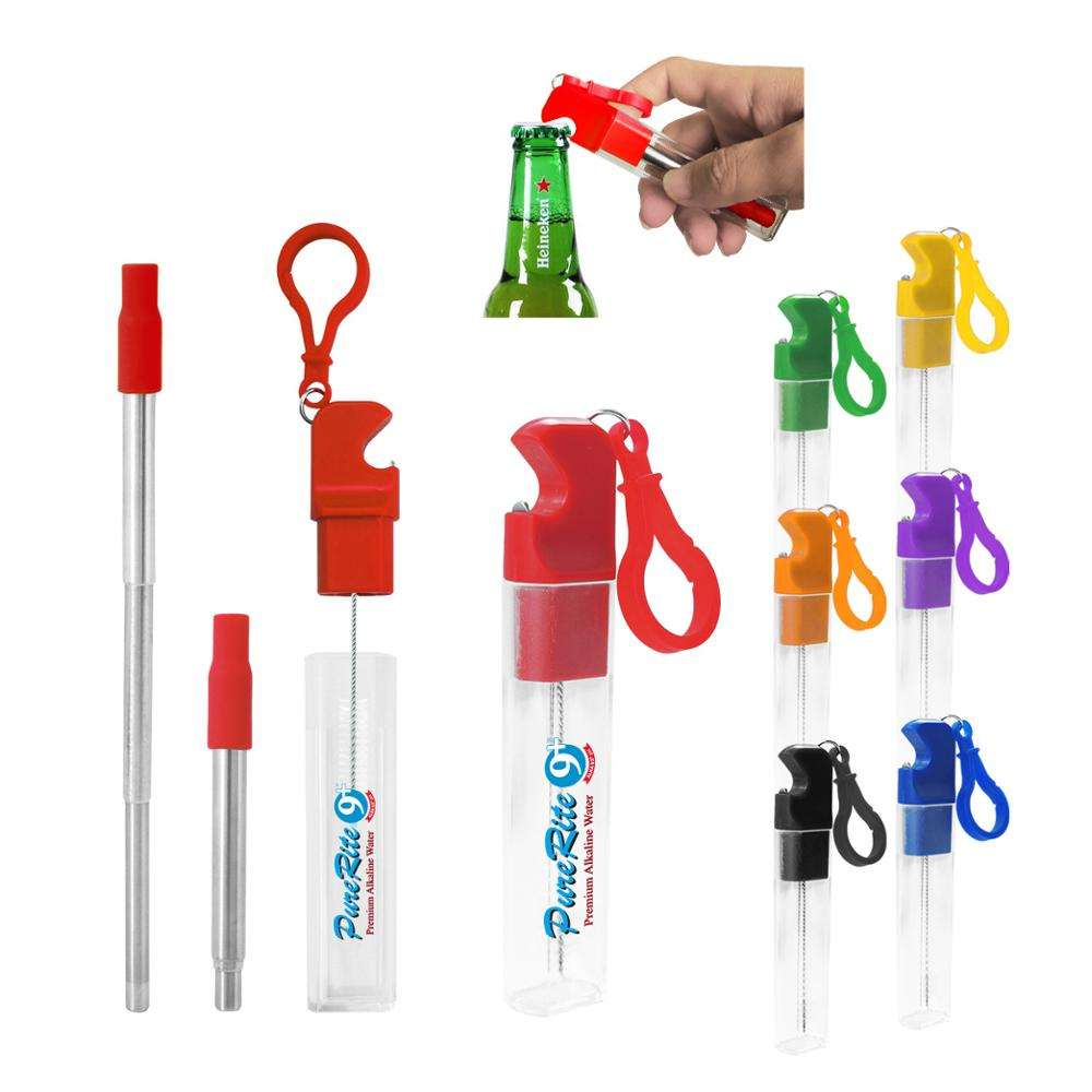 Promotional plastic Tube container with loop built in 304 steel Cleaning Brush beer opener telescope stainless steel straw set
