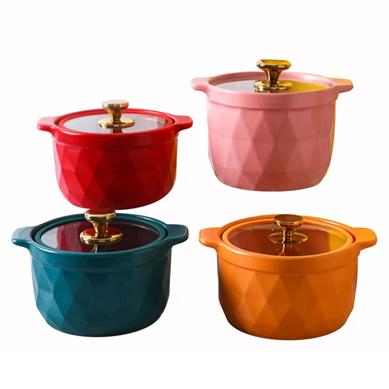 Suitable for all kinds of gas stove household soup pots with glass lid ceramic casserole in 2021