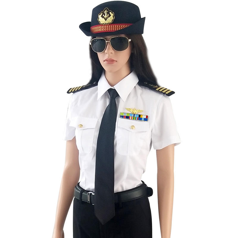Merchant Royal Navy Military Uniforms Shoulder Boards Navy Shirt Dress Suit for Woman