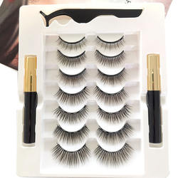 new box Factory wholesale 7 pairs private label silk faux mink 3d magnetic eyelashes