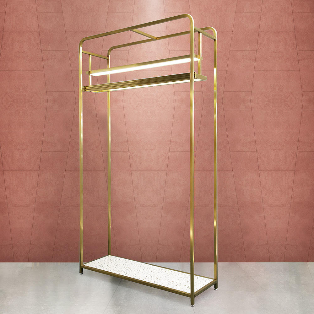 Fashion Design Gold Metal Garment Rack Display for Clothes with LED Clothing Store Stand