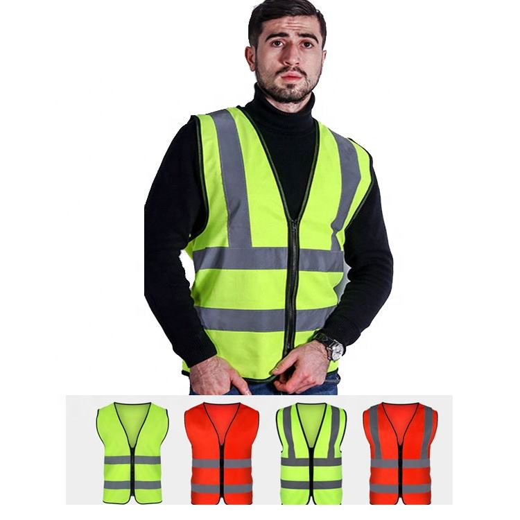 Bright Neon Color Reflective Safety Vest Custom Men's Vests Waistcoats Safety with 2 Inch Reflective Strips