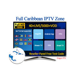 1 months 3months Caribbean Hot Sell Best  56+Live/5500+Vod With Full HD Good Vision IPTV Reseler Panel m3u trial free test code