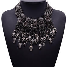Fashion Vintage Style Multi-level Punk Black CZ Skull Necklace Collar Bib for Women