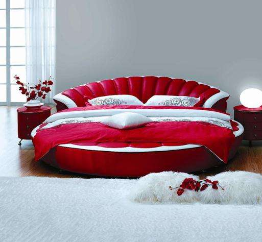 fashion european style round home leather sofa bed soft modern leather bed