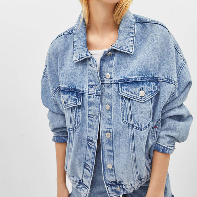 Custom logo pattern women longsleeve jean denim jacket wholesale for lady