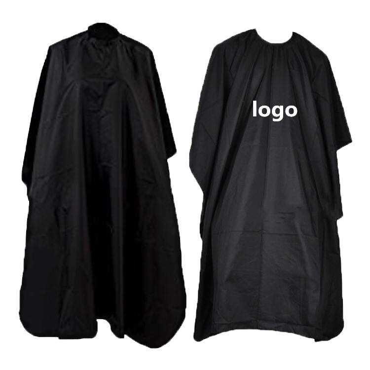 custom logo polyester salon black makeup hair cut barber hairdresser cape