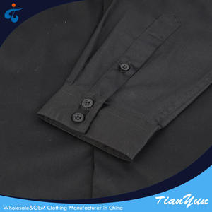 Best price of professional formal office men long sleeve woven black shirt uniform cotton