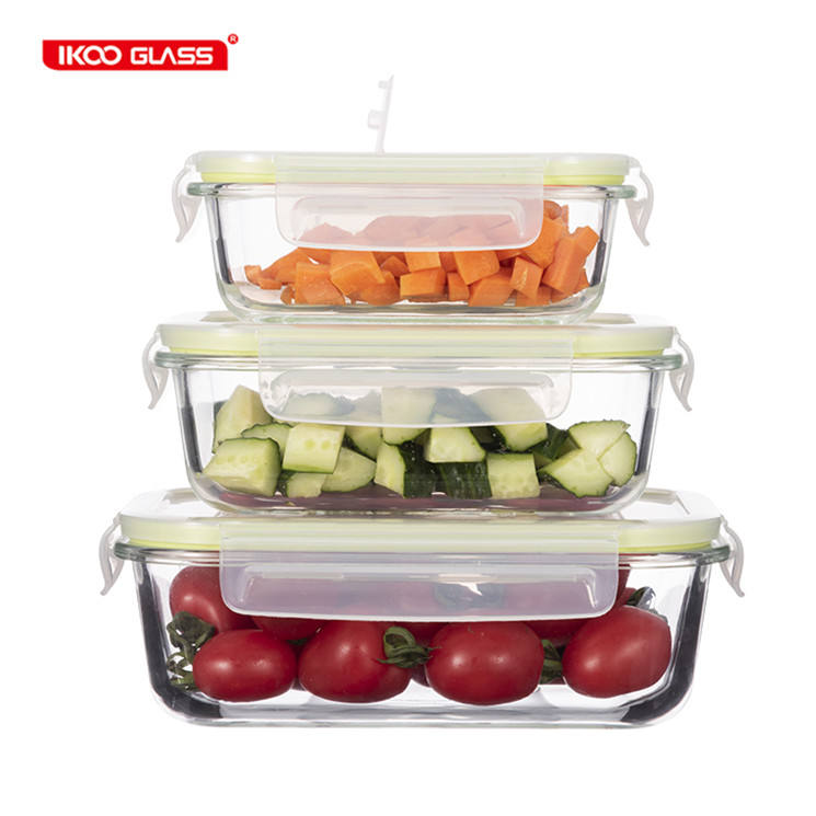 Ecofriendly meal prep container food storage bpa free glass lunch box with vent lid