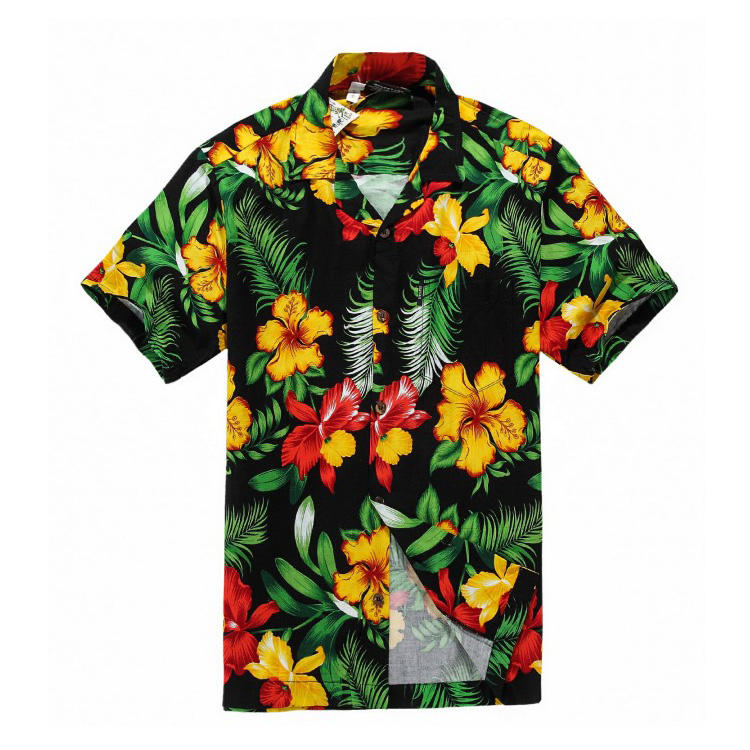 Polyester Fabric Aloha Fashion Men's Hawaiian Shirt Black Yellow Floral Shirt
