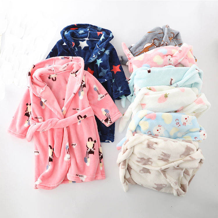 Cheap baby bath towel wholesale super soft flannel bathrobes for kids