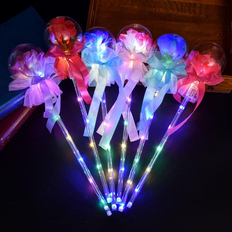 A3437 Night Sparkle Fairy Wand Star Patry Bobo Ball Glitter Light Stick Kids Gift Flash Toys Led Rose Magic Sticks