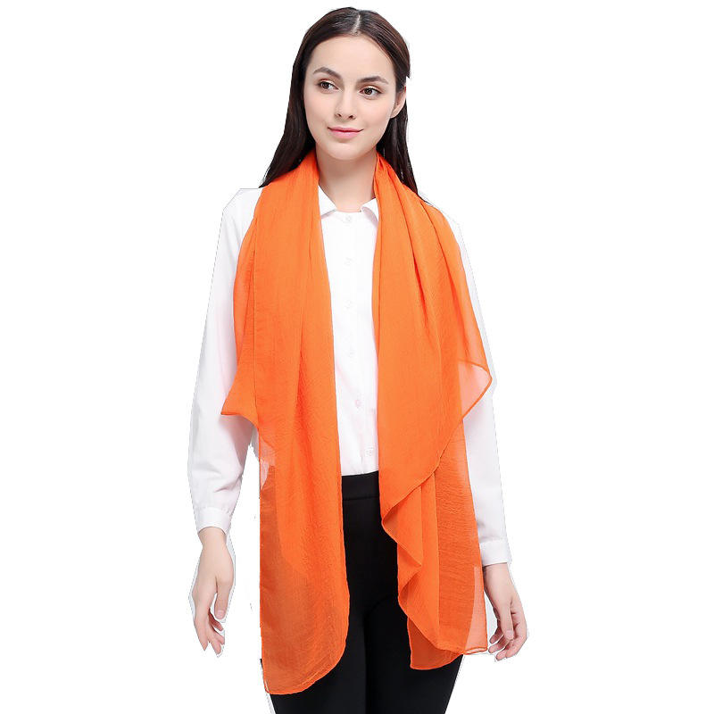 Chiffon solid color pleated scarves Medium lightweight neck wraps thin breathable plain dyed Shawls scarfs top for Ladies women