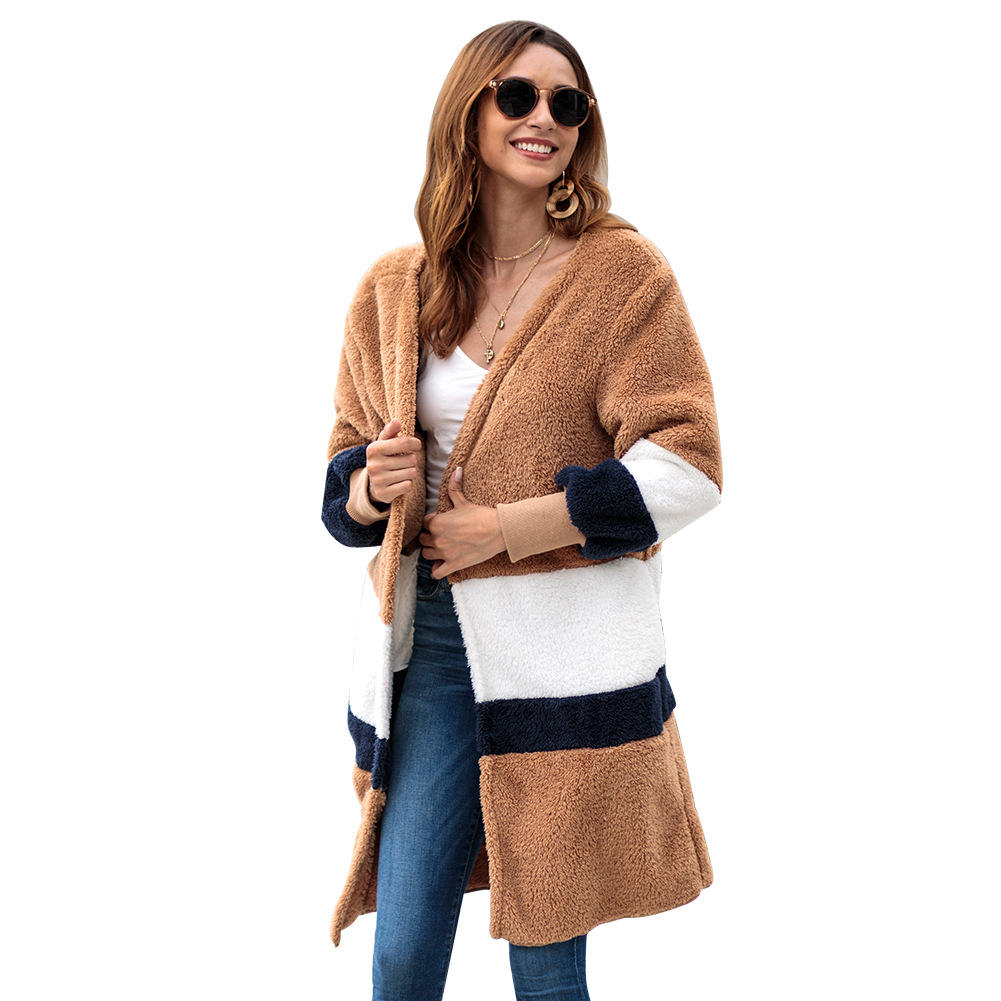 wholesale factory Loose stripe velvet sweater heavy long cardigan women warm plush winter coat 2020