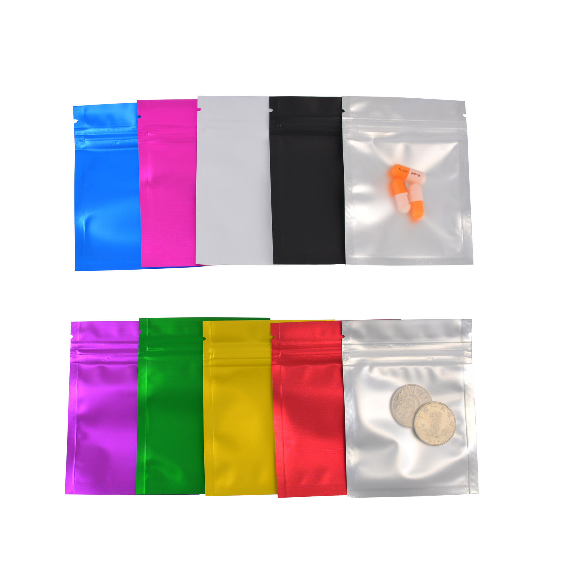 44# Mylar Ziplock Bag Smell Proof Food Storage Metallic Foil Airtight Bags Front Clear Plastic Candy Packaging Pouch