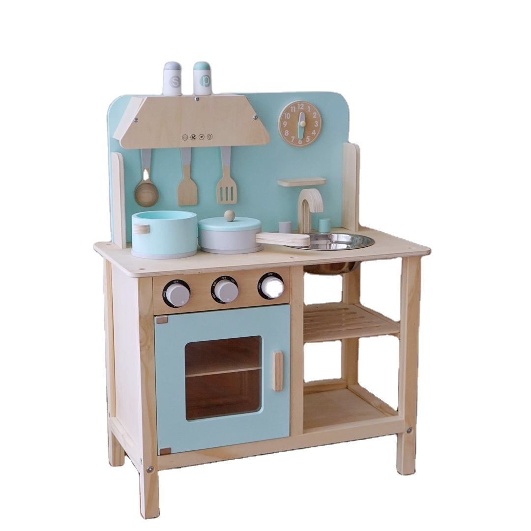 Children's Family Kitchen Toy Set Baby Cooking Stove Mock Blue kitchen Wooden Play House Toy Role Play Toy