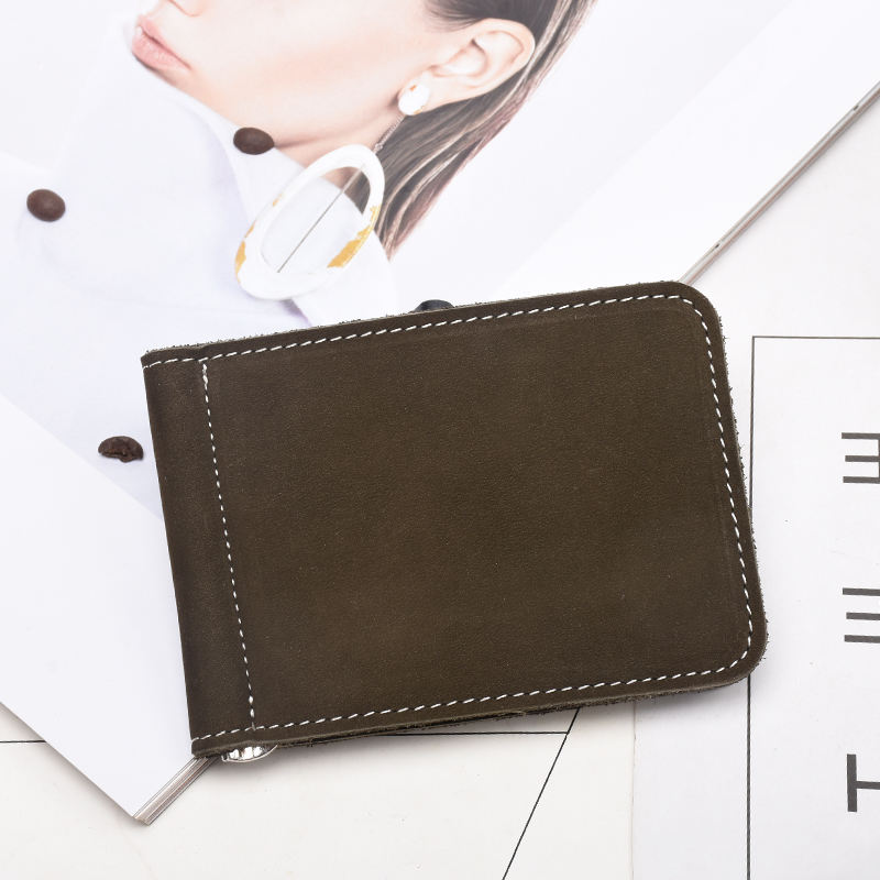 TIDING Men Brown Vintage Style Cowhide Genuine Leather Short Bifold Card Holder Wallet Leather With Money Clip