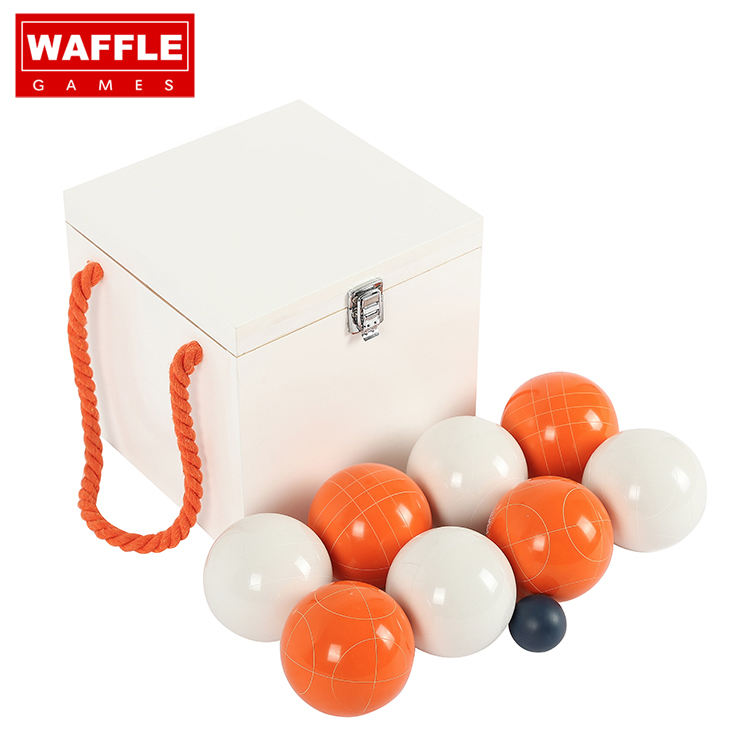 WAFFLE GAMES Classic Resin Material Custom Color Bocce Ball Set With Wooden Box