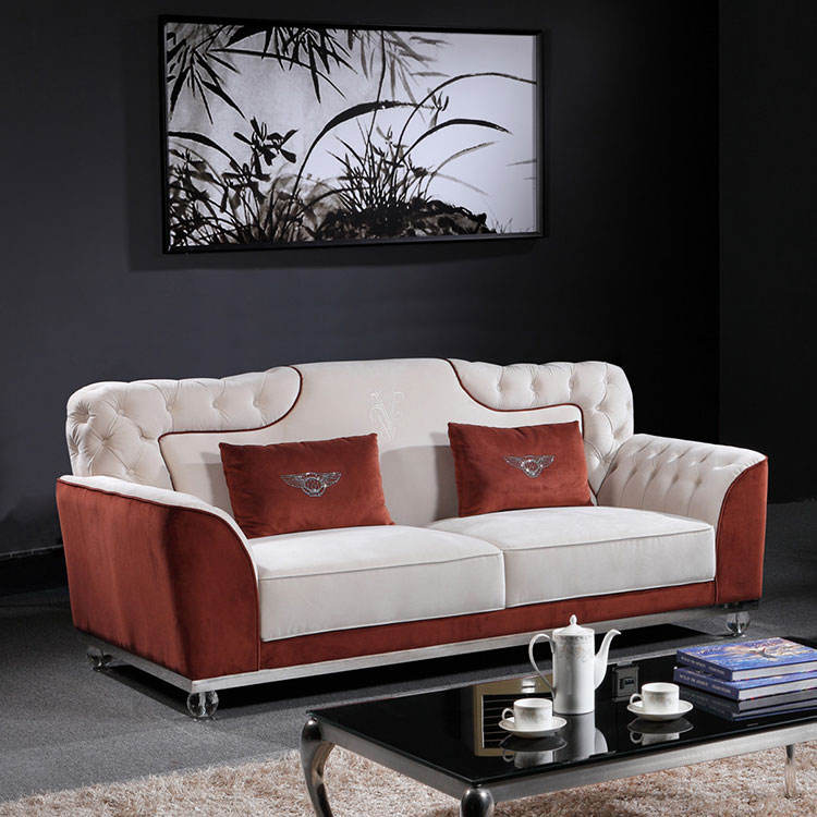 living room furniture European design antique chaise lounge brown and white button tufted chesterfield foam sofa set
