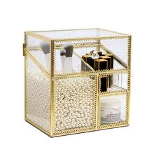 Factory direct supply classic vintage design gold glass makeup storage box cosmetic organizer case with large capacity