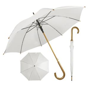 Hight quality wooden handle frame polyester fabric outdoor fashion sun white umbrella for women