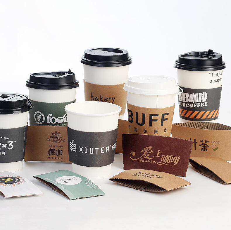 Hot Selling Custom Printed Paper Coffee Cup With Lids And Sleeves
