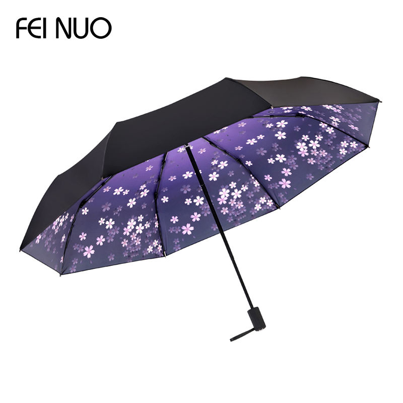 Fashion design sakura pattern 8k manual open portable steel frame 3 folding rain umbrella with rubber handle