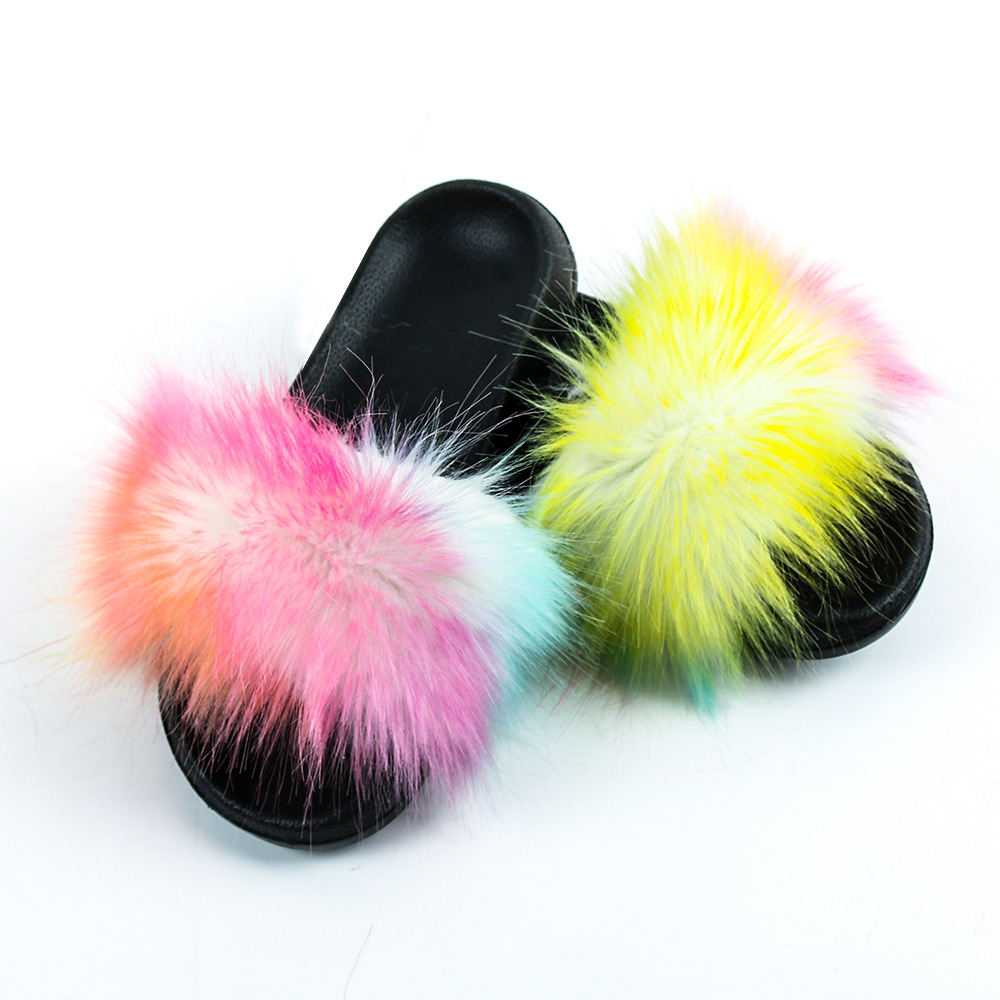 Wholesale Real Raccoon Fur Slide For Women Fluffy Sandals Fur Slippers
