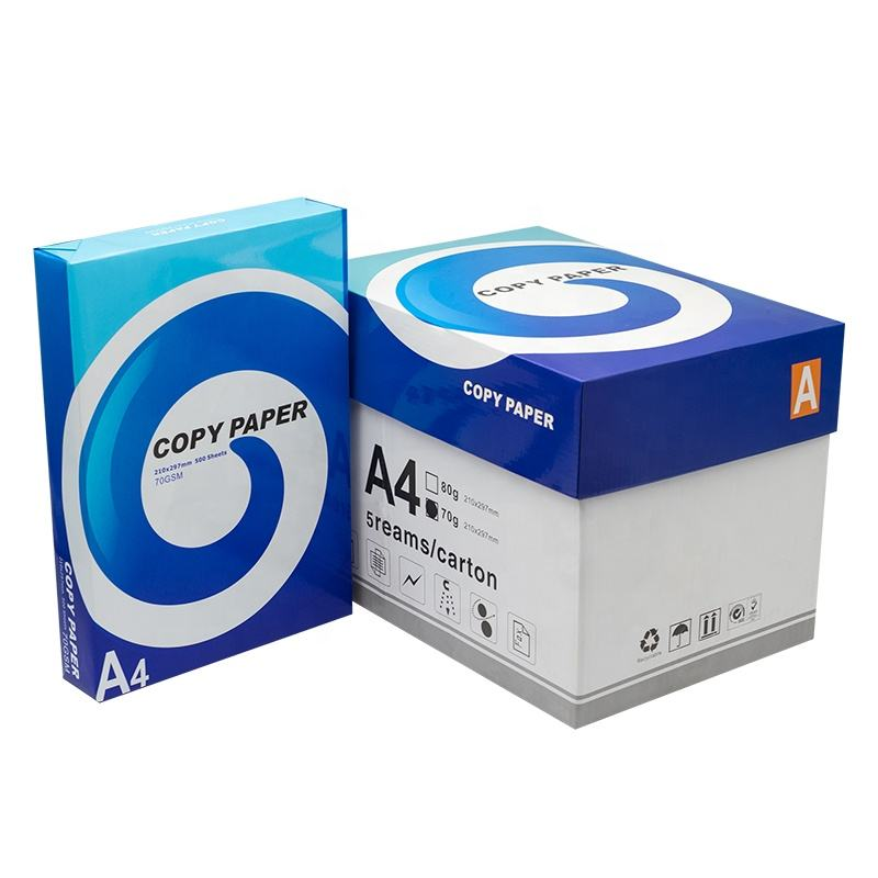 China Manufacturers OEM 70GSM 75GSM 80GSM 100% Pulp A4 Paper Copier 500 Sheets/Ream - 5 Reams/Box A4 Copy Paper