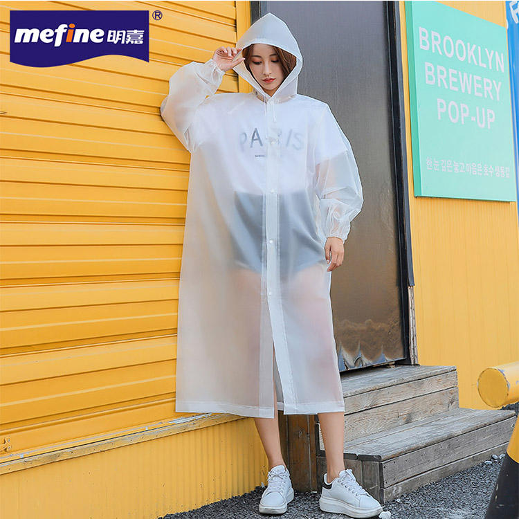 Plastic Transparent EVA Raincoat Waterproof Adult Rain Coat With Drawstring Hood/snap Button In Front/elastic Sleeve