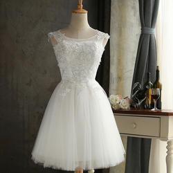 White Color Lace Applique Short Mini Length Bridesmaid Dresses Wholesale Party Dresses Gowns