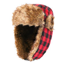 Red Lattice Russian style aviator trooper hat ski windproof earflap faux fur winter hats for women