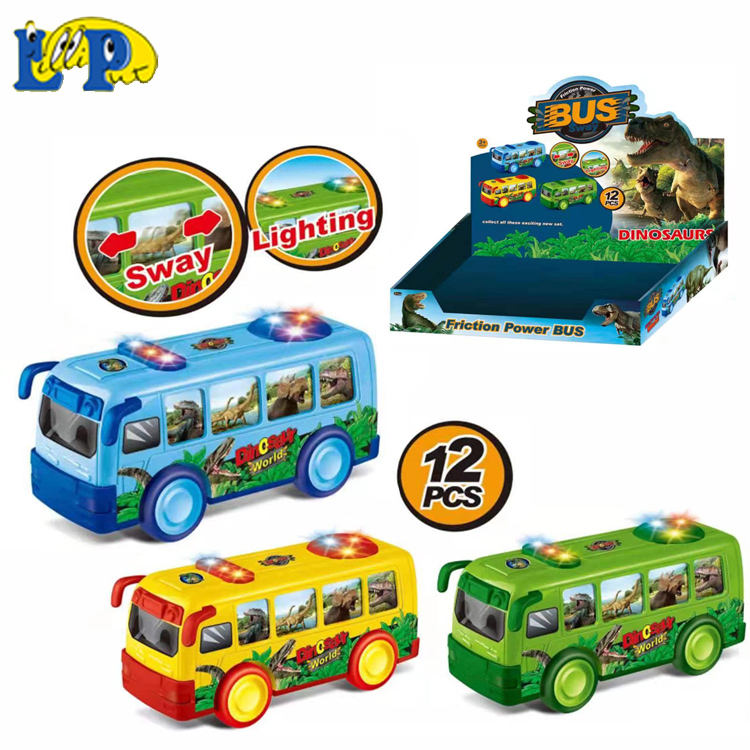 2020 ABS friction power dinosaur bus toy with light and music Friction Toy Vehicles children's inertial toy car for boys girls