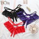 Sexy Lace Bow Panties Female Transparent Temptation Low Waist Lace Crotchless Women Briefs Sexy Thong G String T-Pants Panties