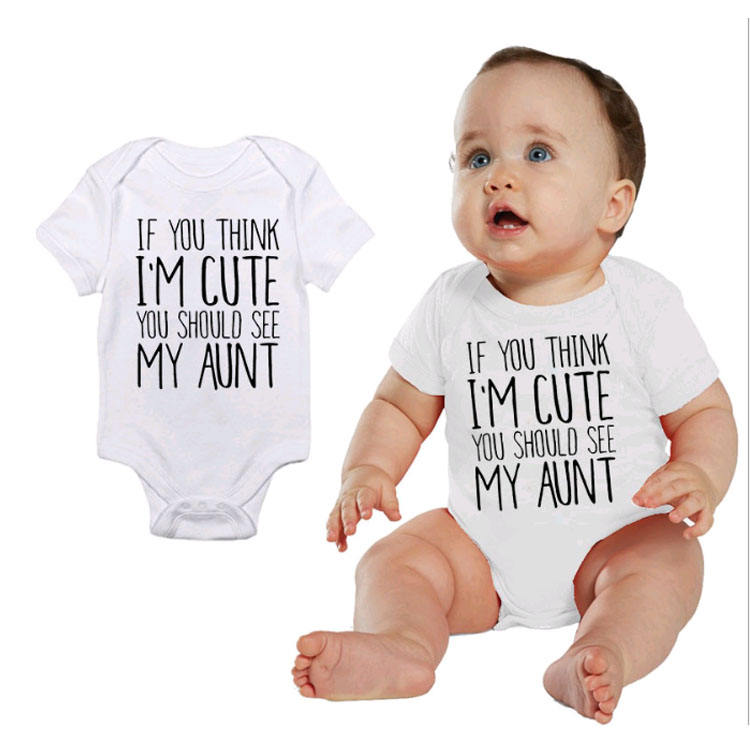 100% Cotton baby onesie Infant short-sleeve white letter print baby rompers