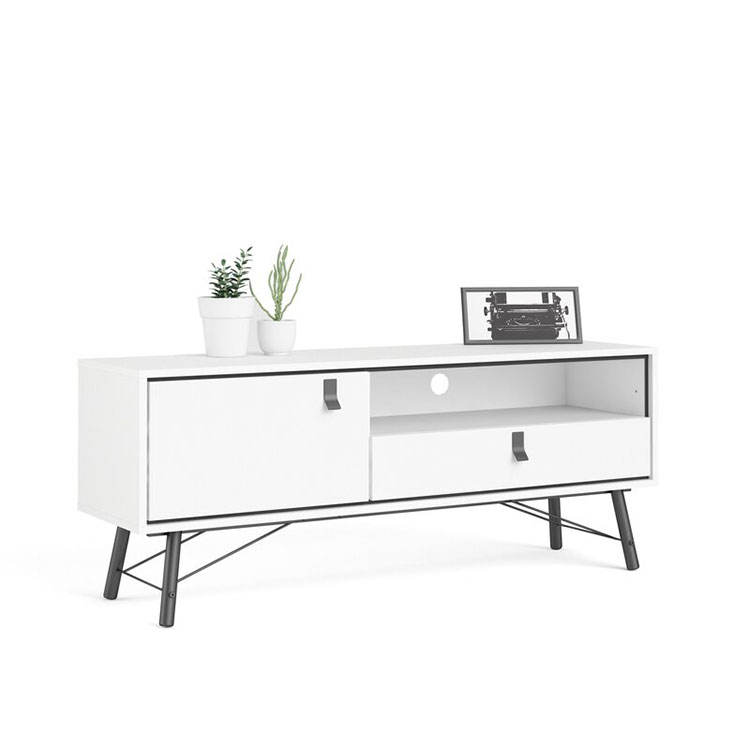 Mueble <span class=keywords><strong>de</strong></span> <span class=keywords><strong>TV</strong></span> para sala <span class=keywords><strong>de</strong></span> estar, sencillo, <span class=keywords><strong>de</strong></span> madera y metal blanco