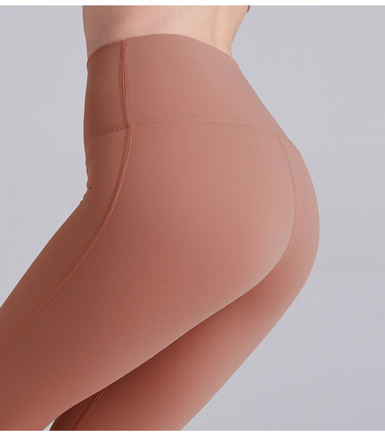 Wholesale Custom Plain Style Design High Waist Women Sports Pants Second Skin Feeling Yoga Leggings