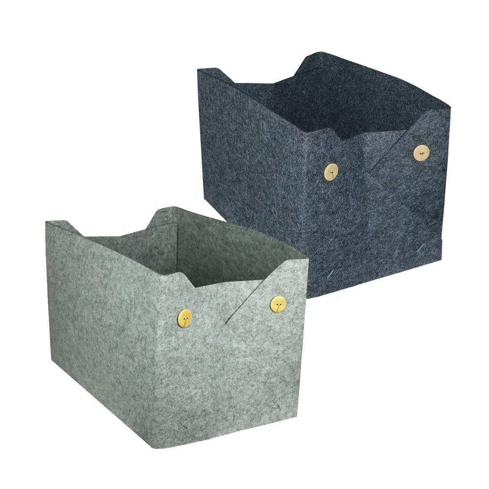 Collapsible Felt Storage Basket With Buttons for Household Storage